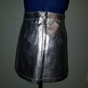 Forever 21 Skirts - Forever 21 silver metallic like mini skirt